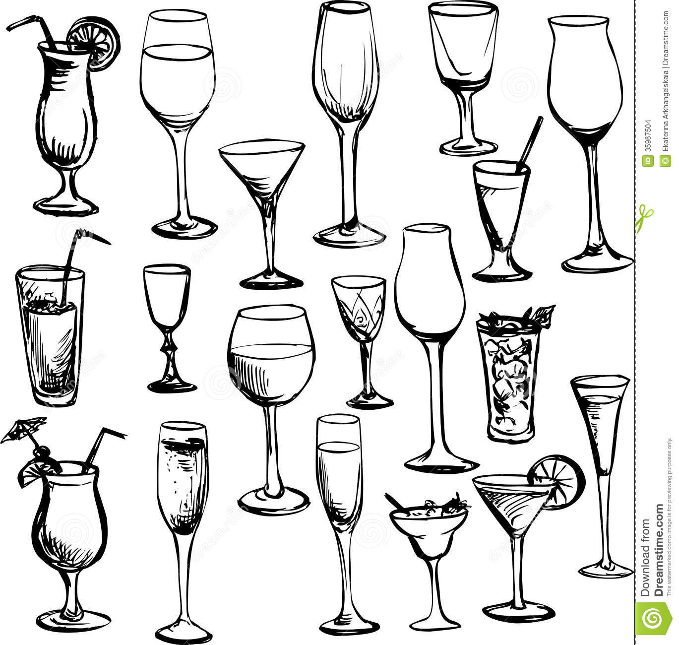 Set Of Wineglass Stock Vector Illustration Of Alcohol