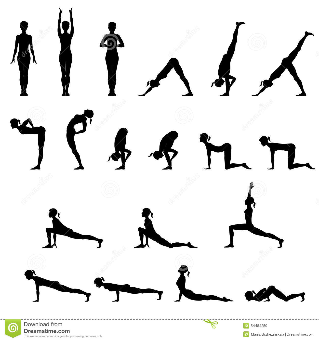 Set Of 19 Yoga Positions Stock Vector Illustration Of