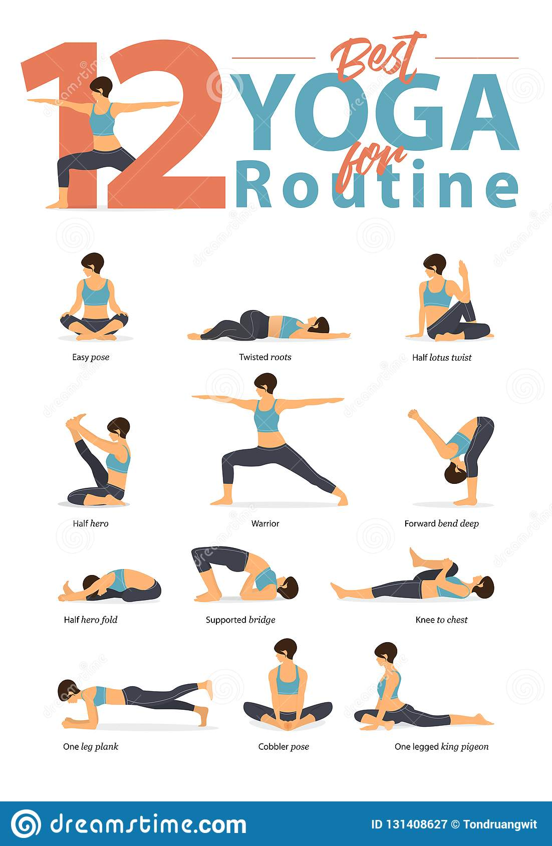 Set Of Yoga Postures Female Figures For Infographic 12