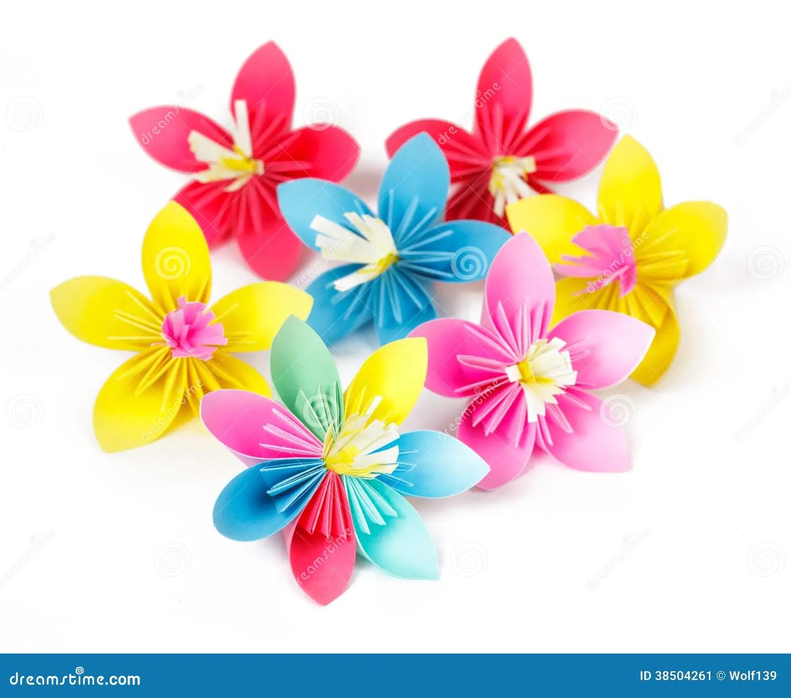 Sete Flores De Papel Coloridas Imagem De Stock