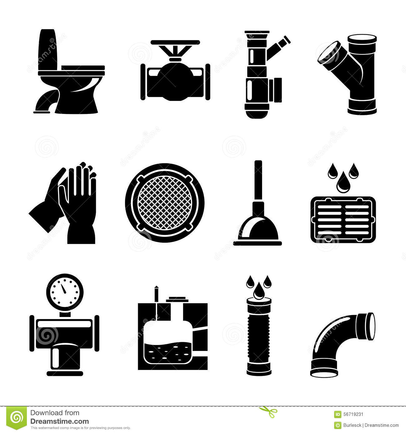 Sewerage Icons Set Stock Vector Illustration Of Hygienic