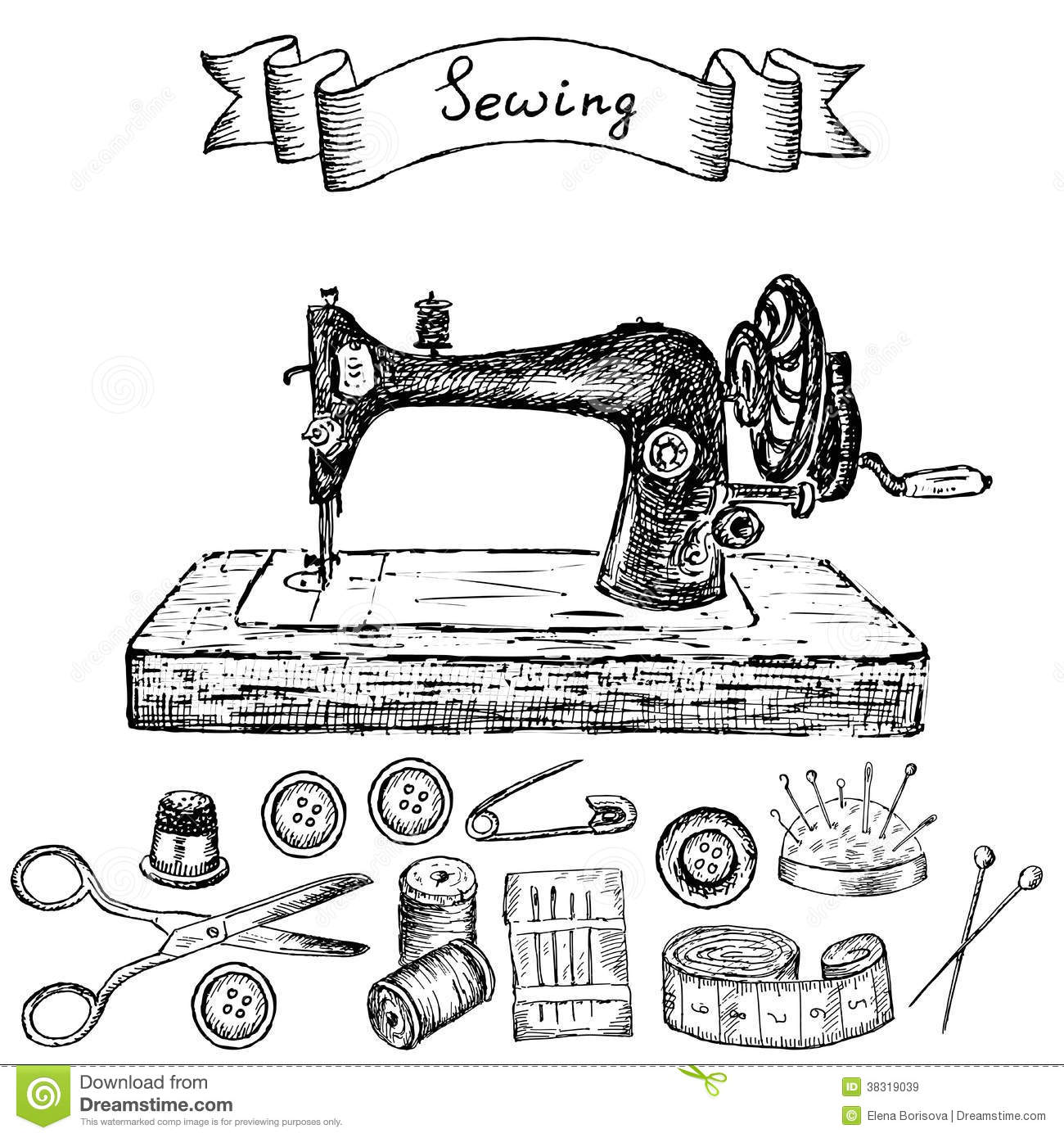 Sewing Machine Stock Vector Illustration Of Thimble
