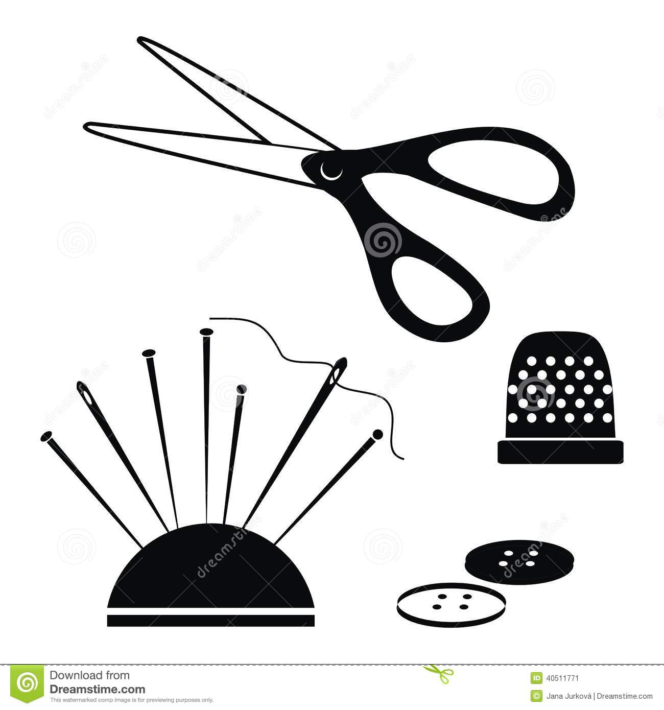 Sewing Supplies Stock Vector Illustration Of Black