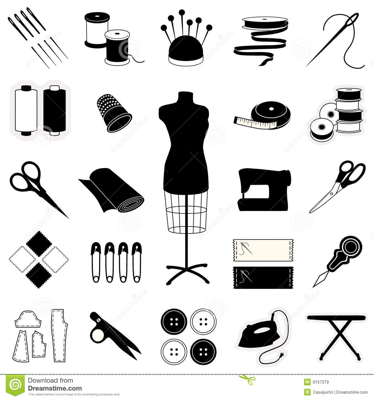 Sewing Amp Tailoring Icons Stock Vector Image Of Collection