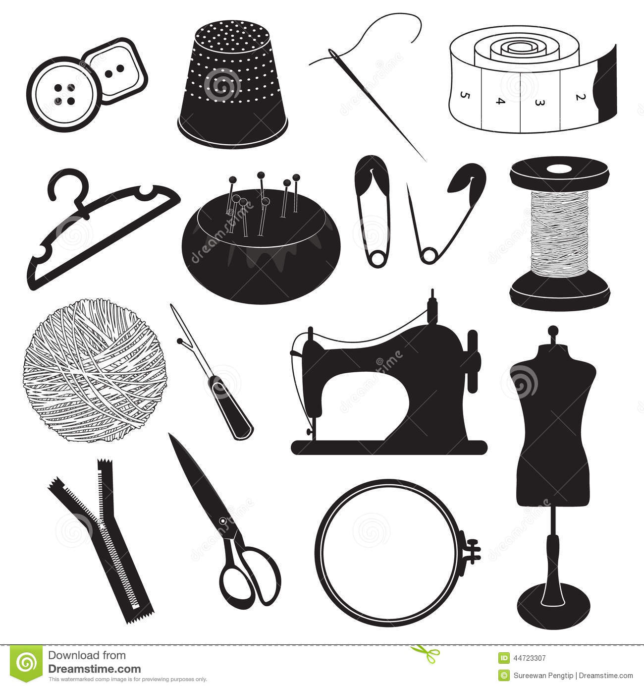 Sewing Tool Icons Collection Stock Vector