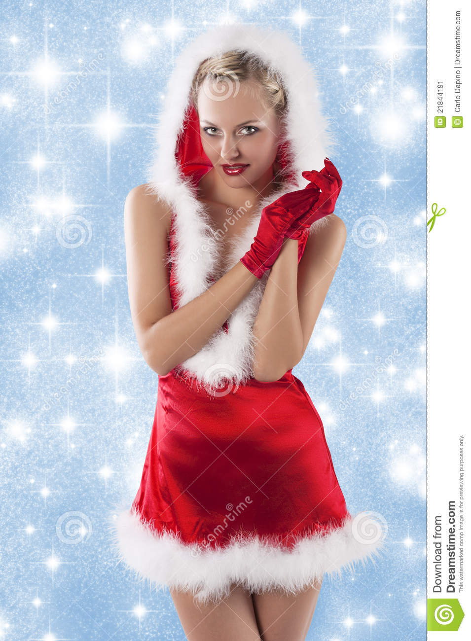 Santa Claus Girl Clapping Hands Stock Image Image Of