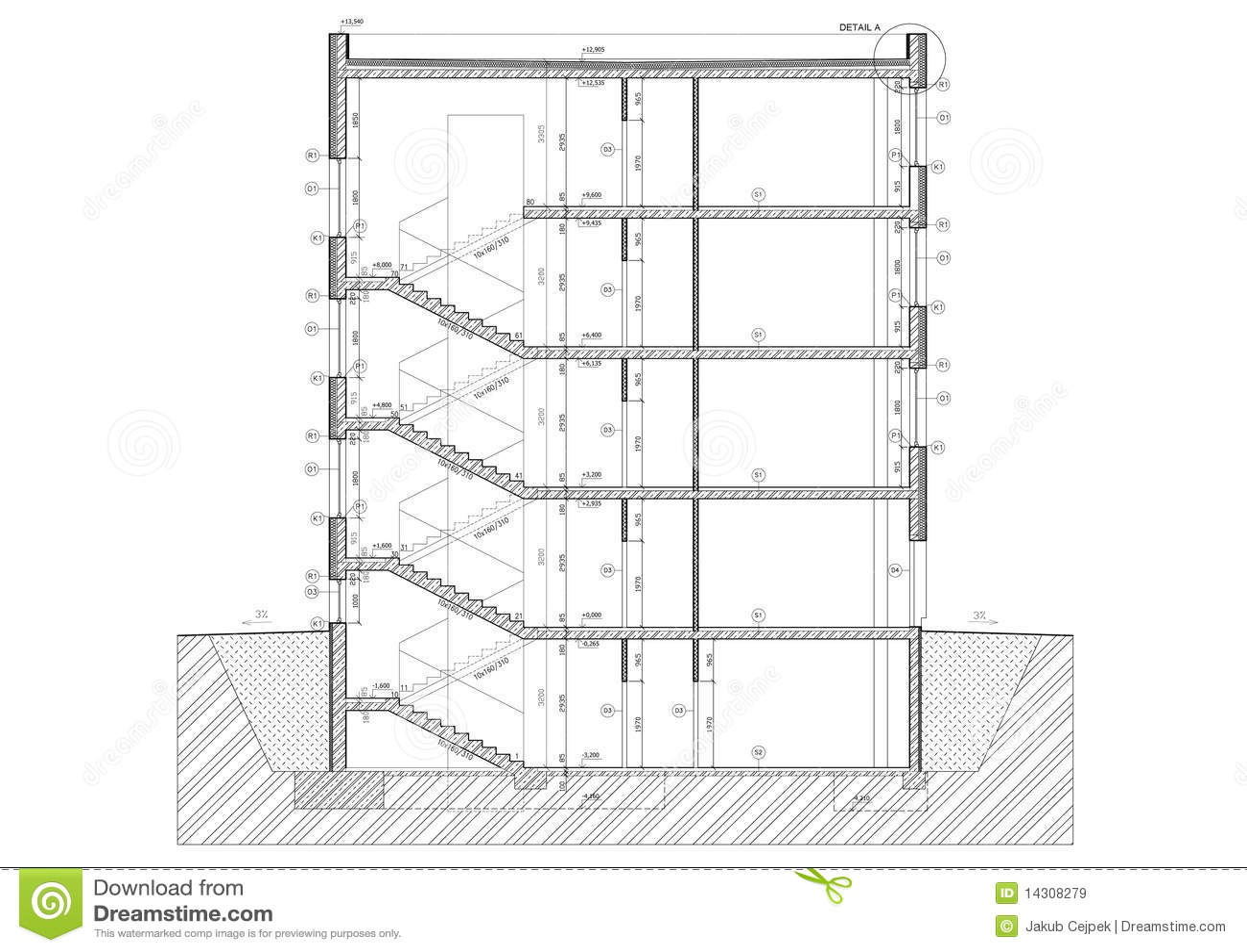 Sezione Trasversale Di Piccolo Edificio Per Uffici