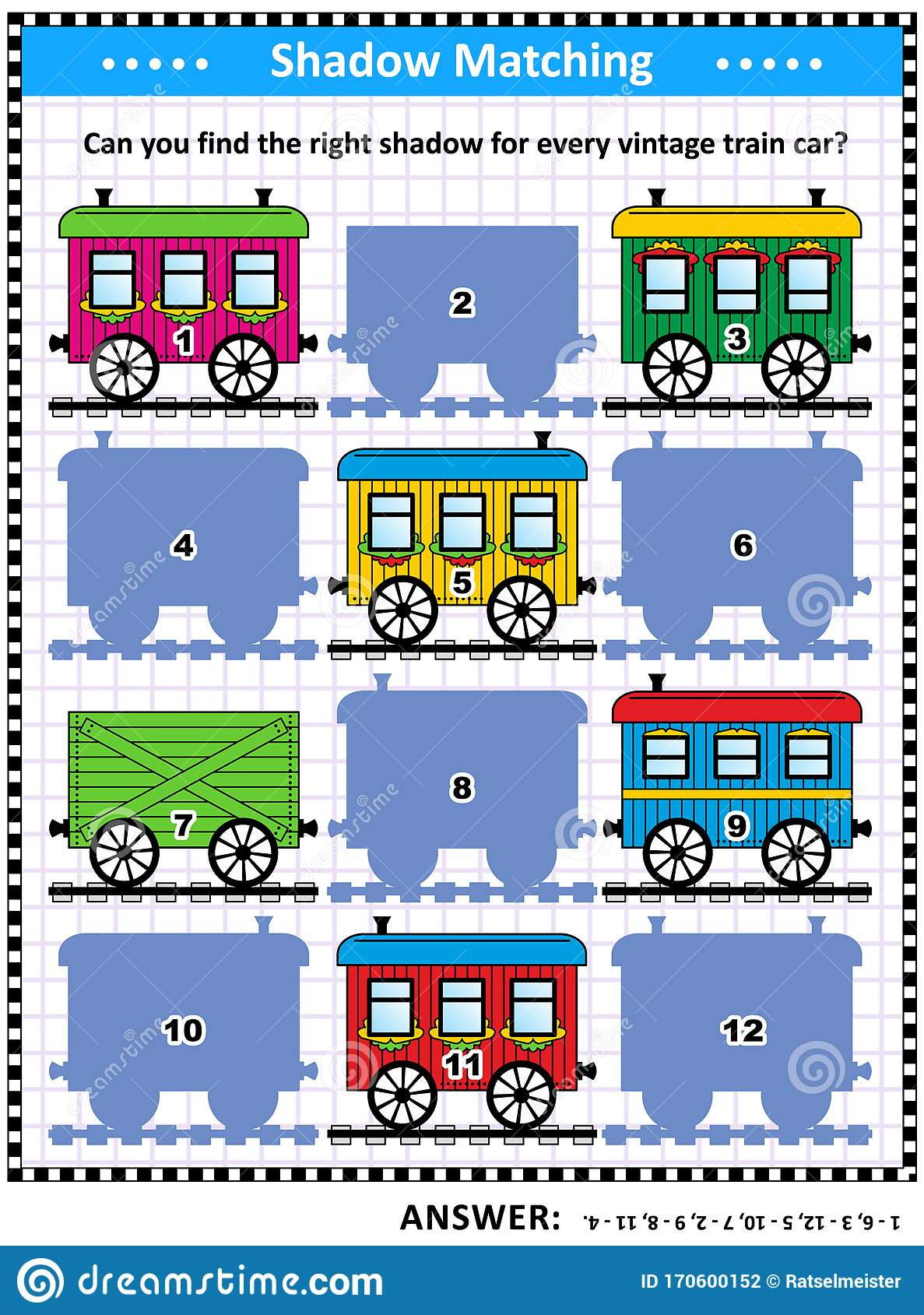 Shadow Game With Vintage Train Cars Stock Vector