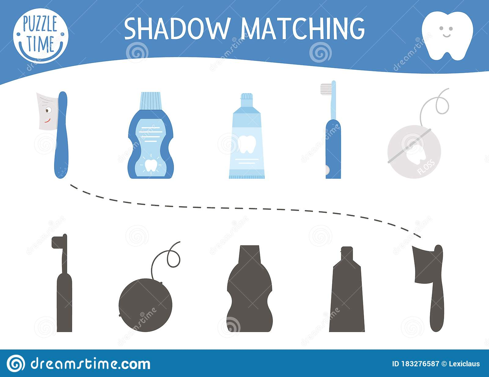 Shadow Matching Activity For Children With Dental Care