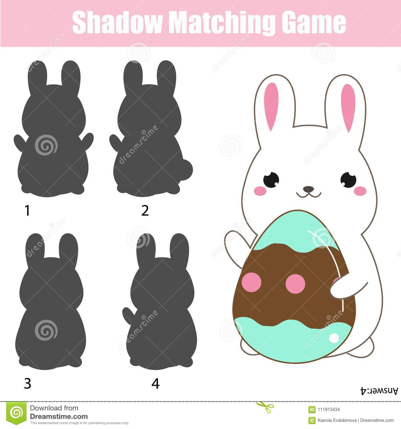 Shadow Matching Game Easter Theme Activity For Kids And