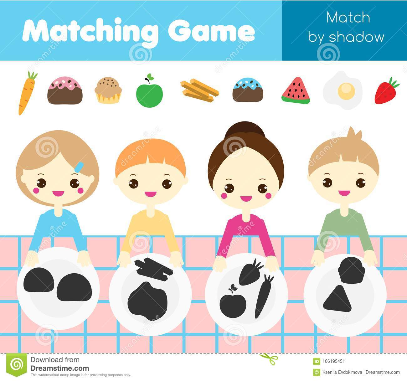 Shadow Matching Game Kids Activity With Food Put Meal
