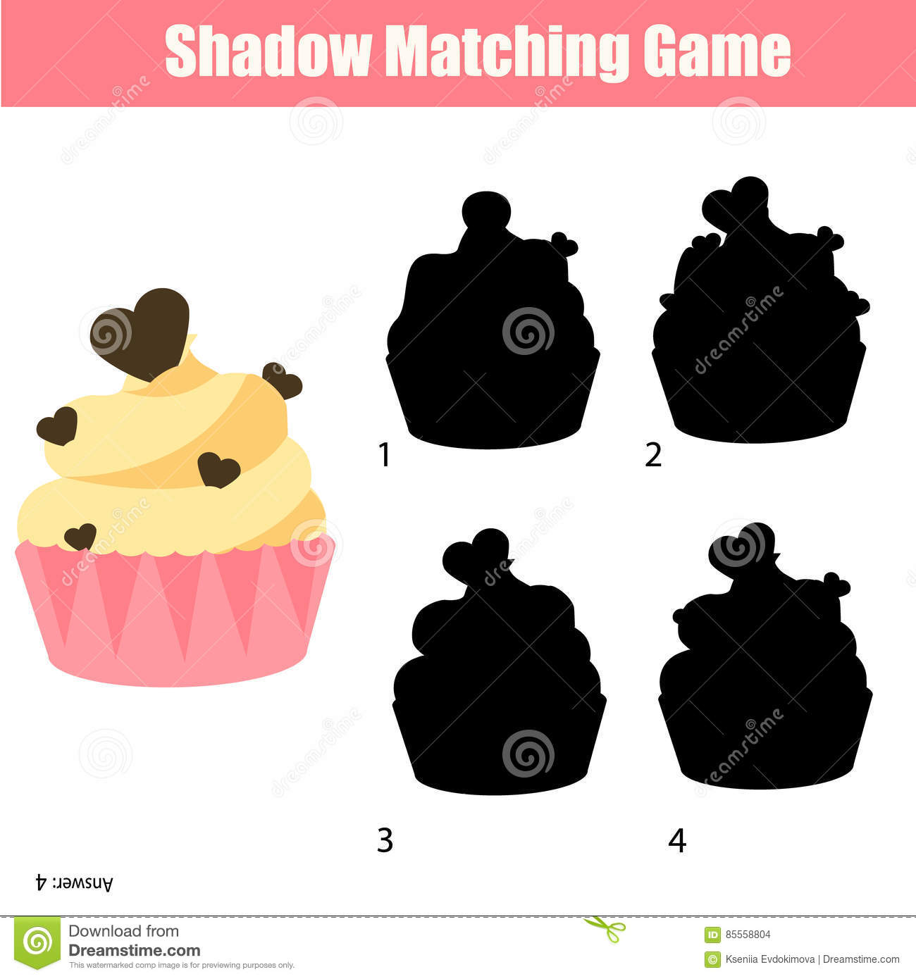 Shadow Matching Game Find The Correct Silhouette For Cupcake Kids Activity Worksheet Stock