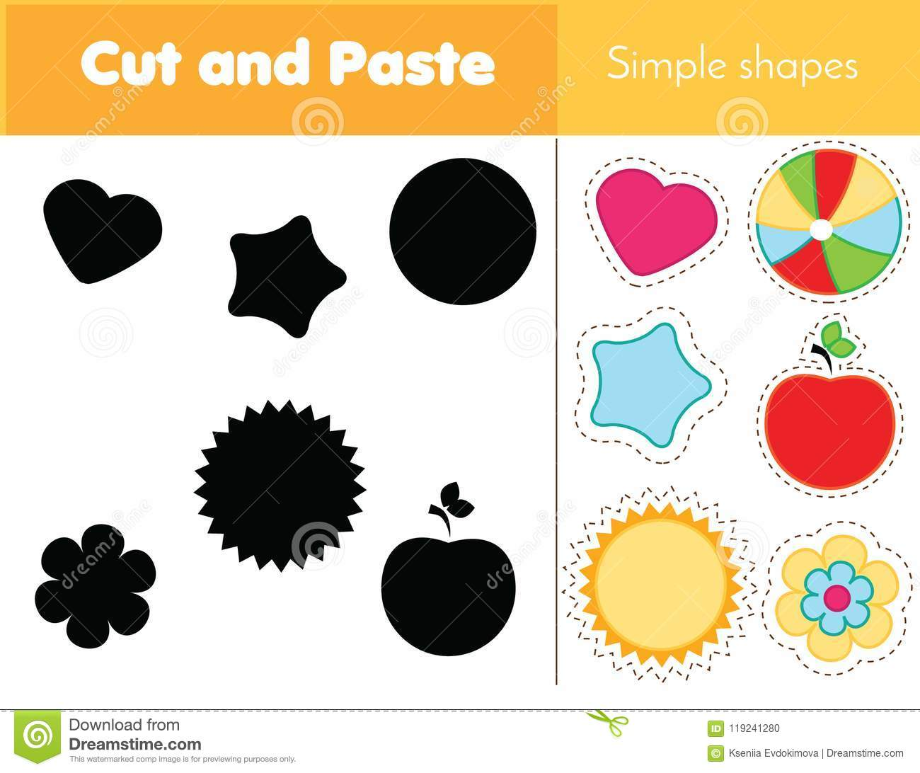 Shadow Matching Game For Toddlers Learning Simple Shapes