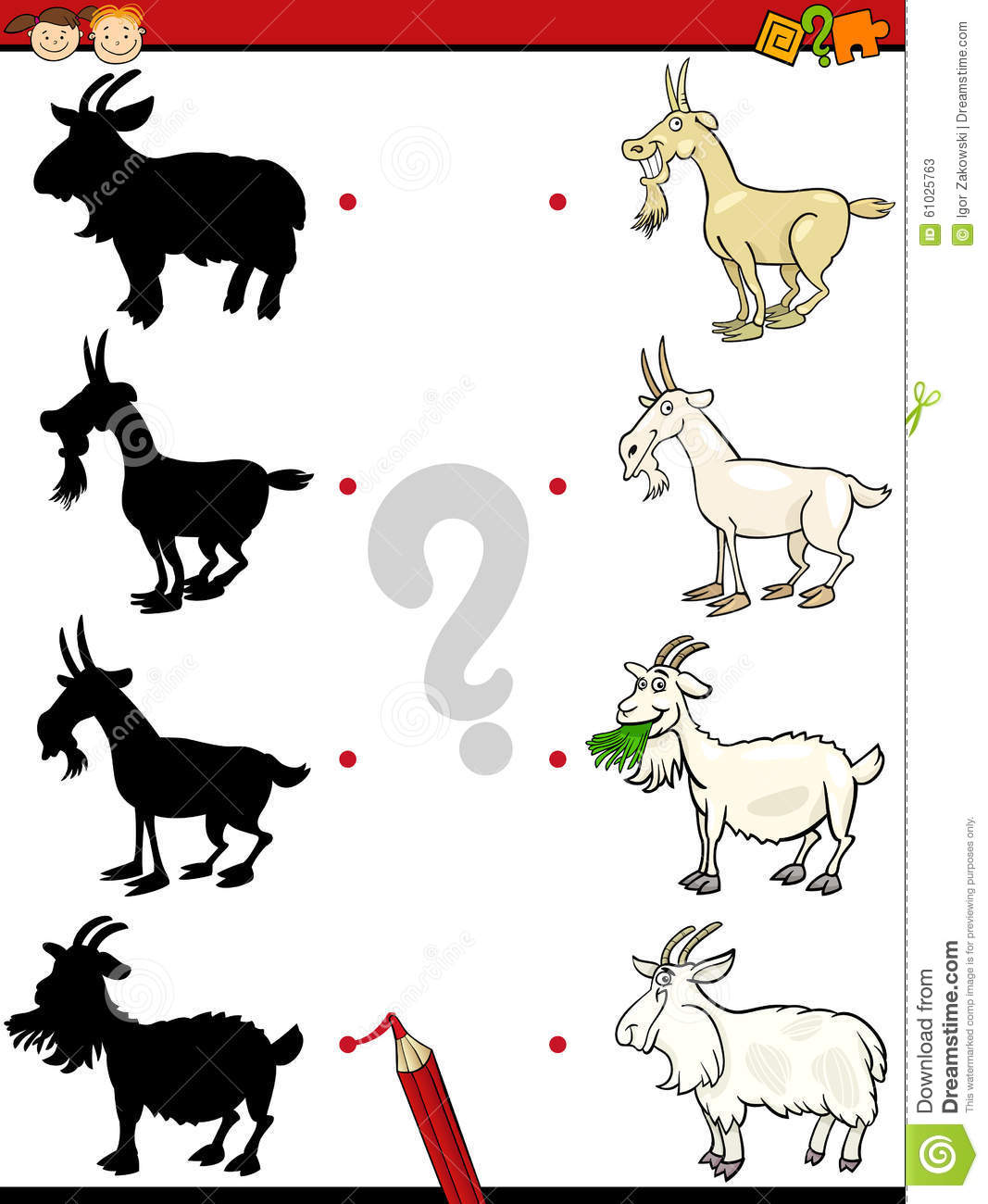 Shadows Task With Goat Stock Vector Illustration Of