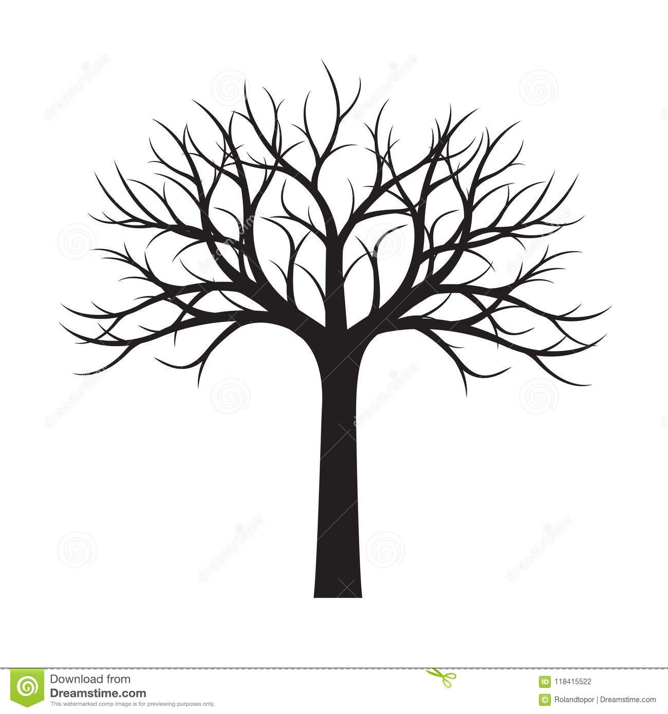 Shape Of Black Tree Without Leaves Vector Illustration