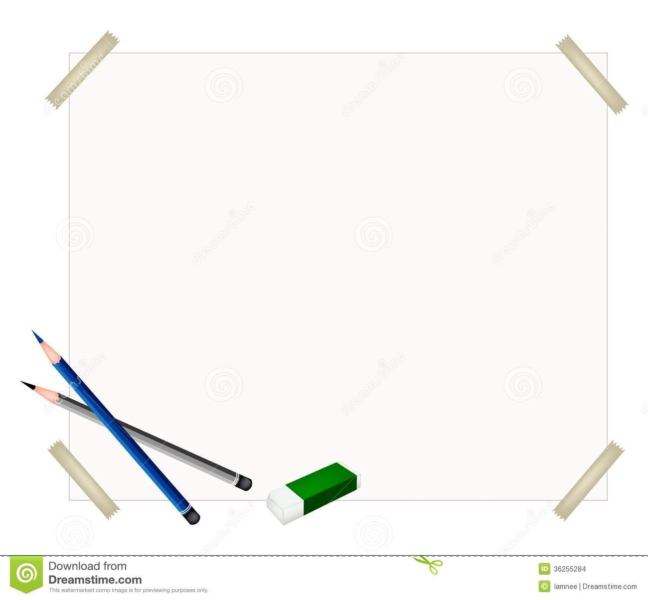 Sharpened Pencils And Eraser On Blank Paper Stock Vector
