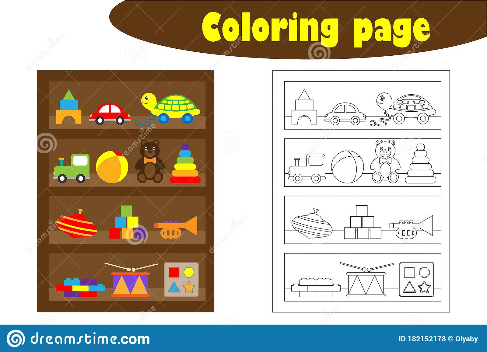 Shelves With Toys In Cartoon Style Coloring Page
