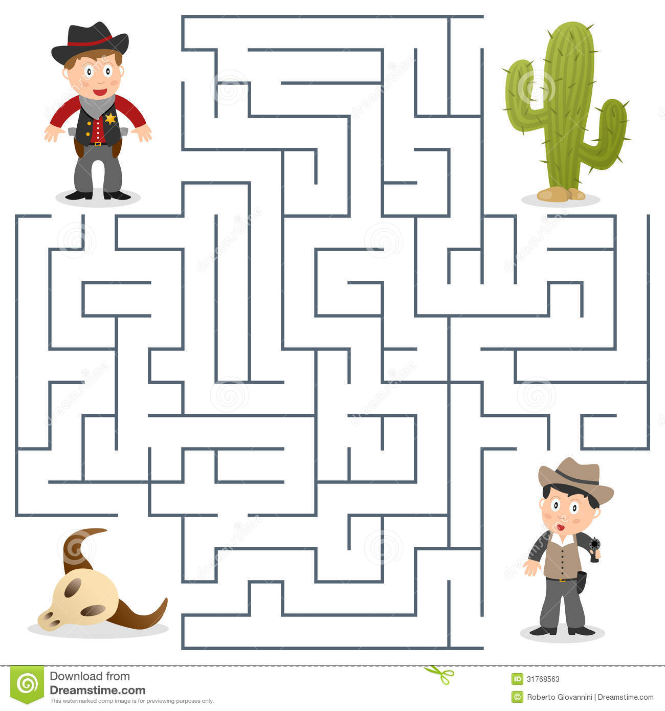 Sheriff Amp Wanted Maze For Kids Stock Photos