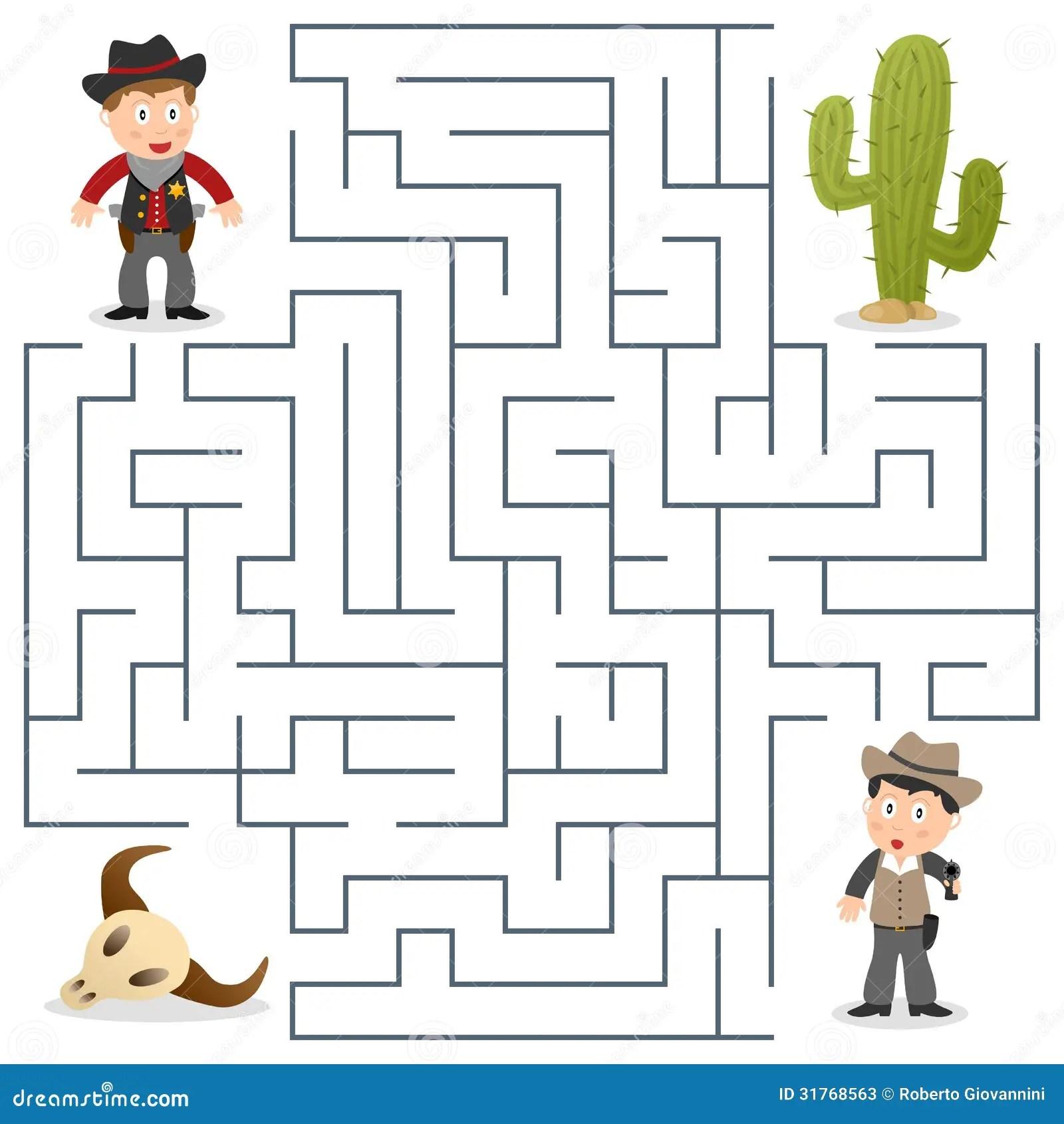 Sheriffen Amp Onskade Labyrint For Ungar Vektor