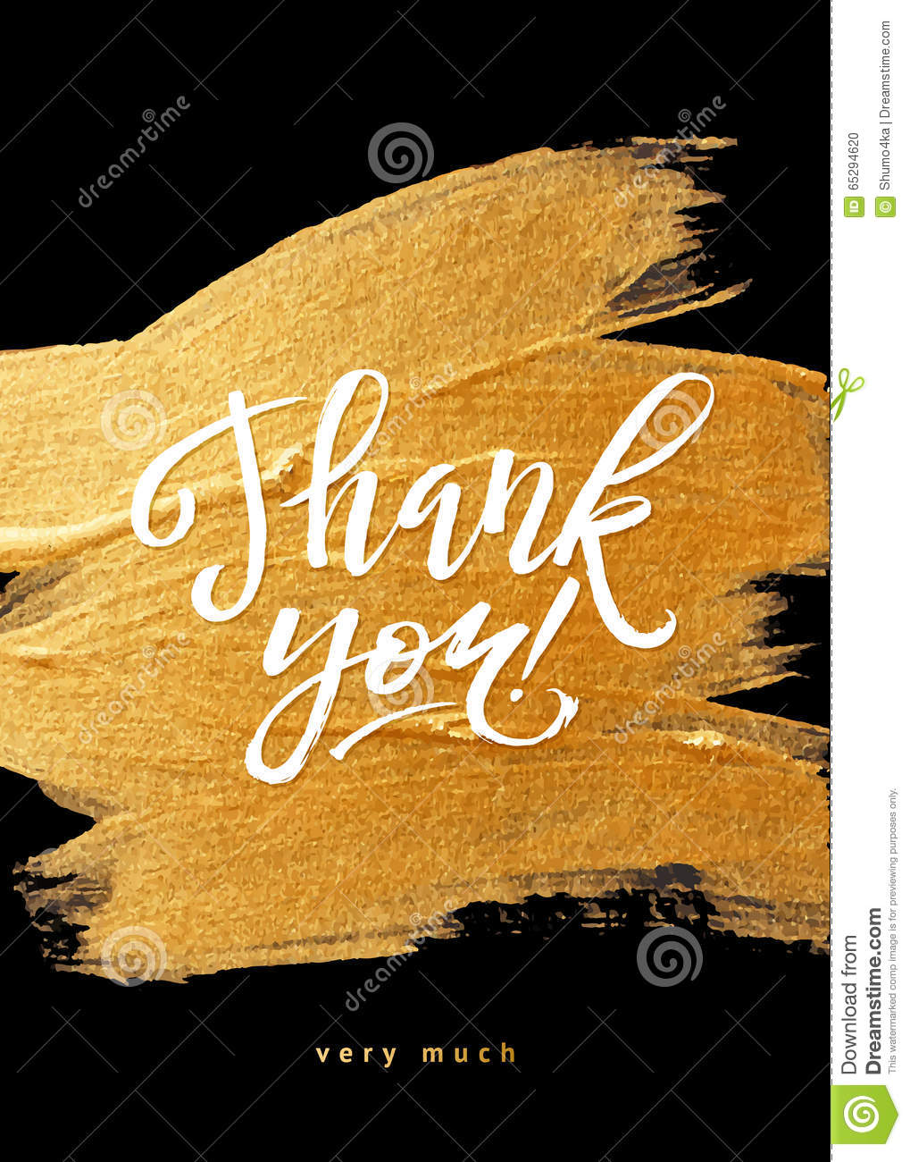 Shine Gold Foil Thank You Card Calligraphy Stock Photo