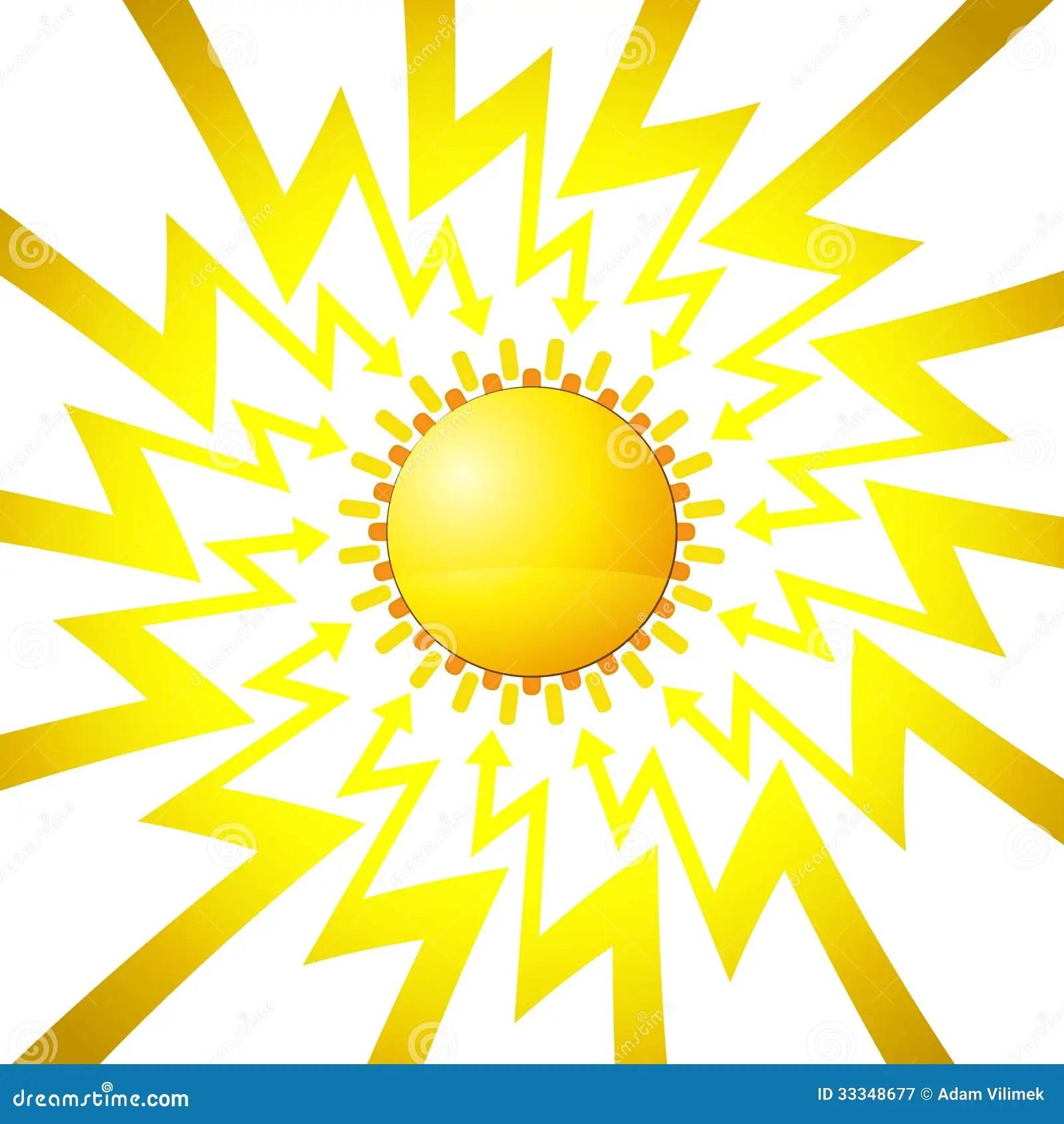 Shining Sun In Arrow Zigzag Circle Vector Royalty Free