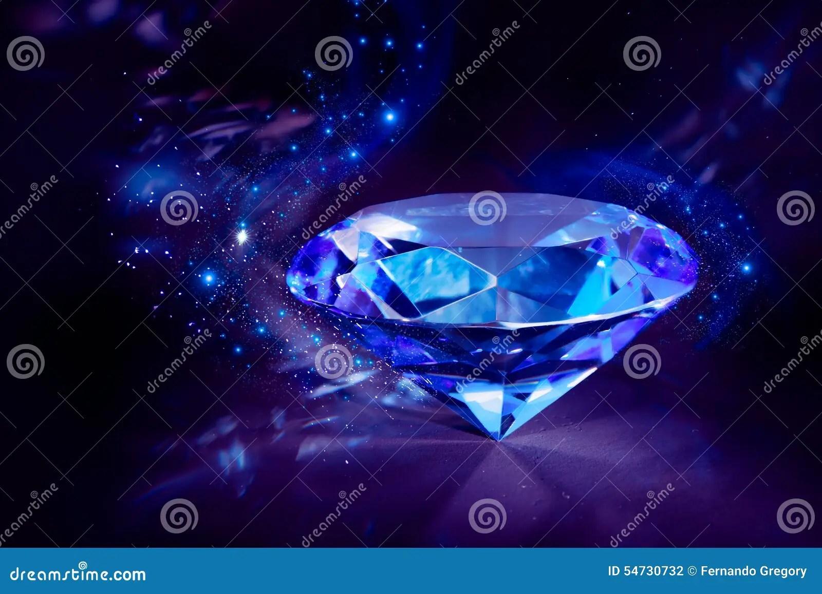 Shiny Blue Diamond On A Black Background Stock Photo