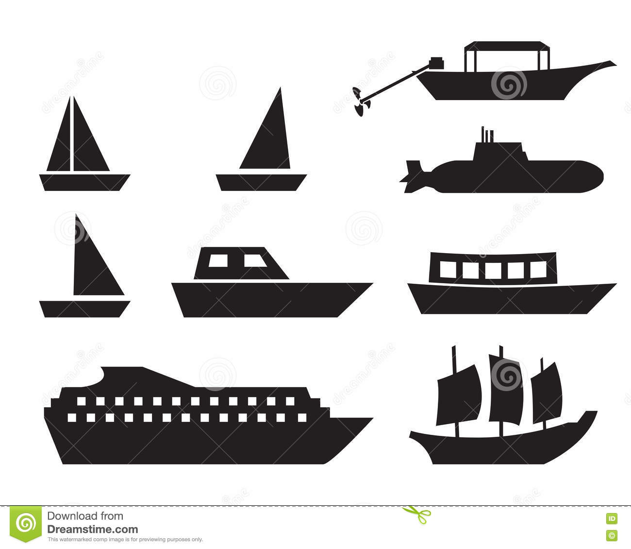 Ship And Boat Icons In Simple Style Vector Stock Vector