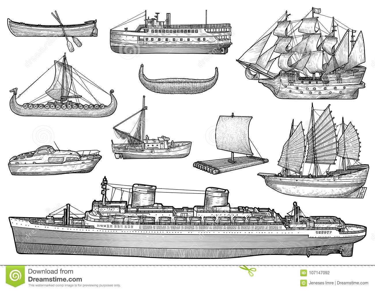 Ship Boat Collection Illustration Drawing Engraving