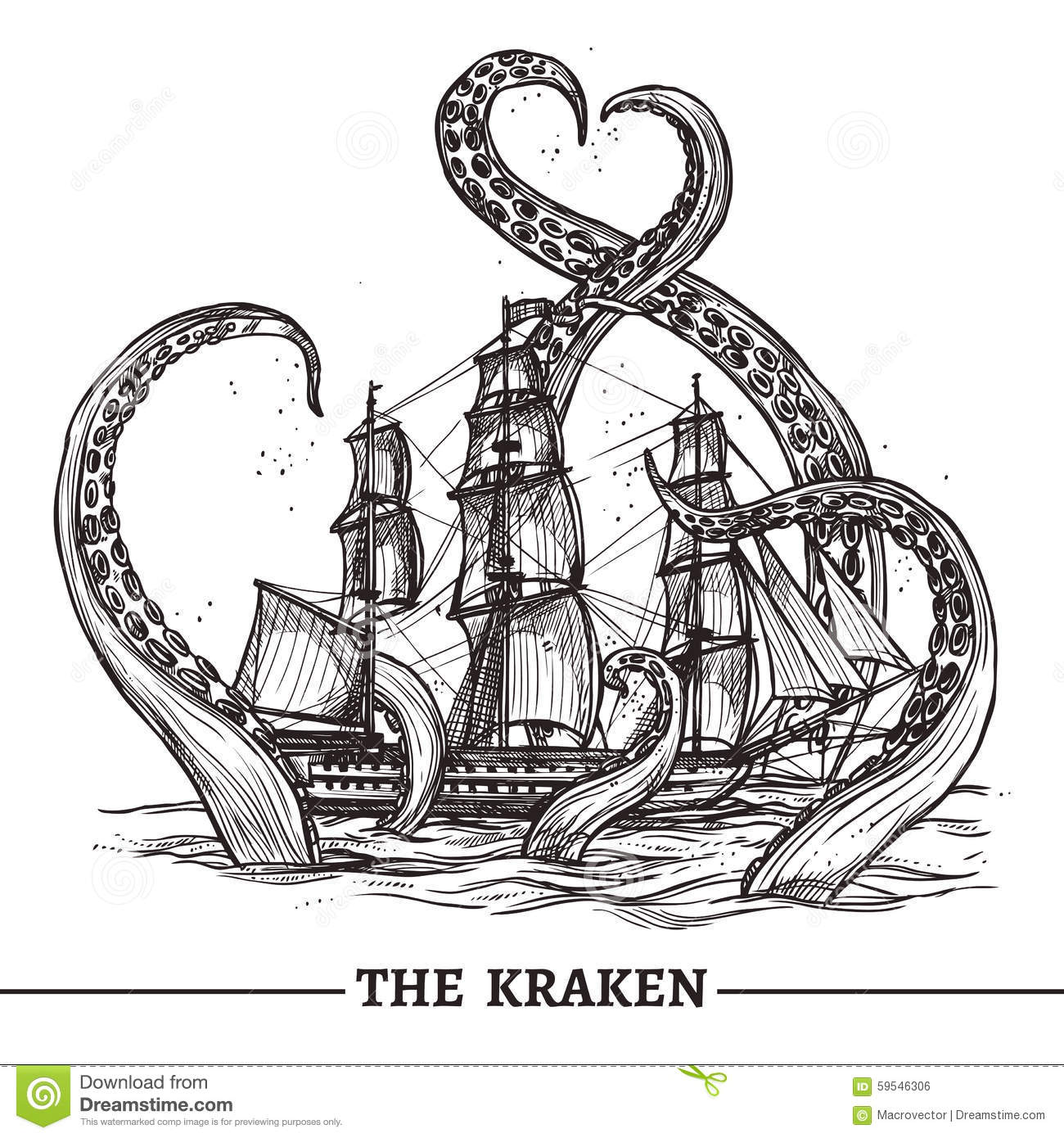 Ship And Octopus Stock Vector Illustration Of Night