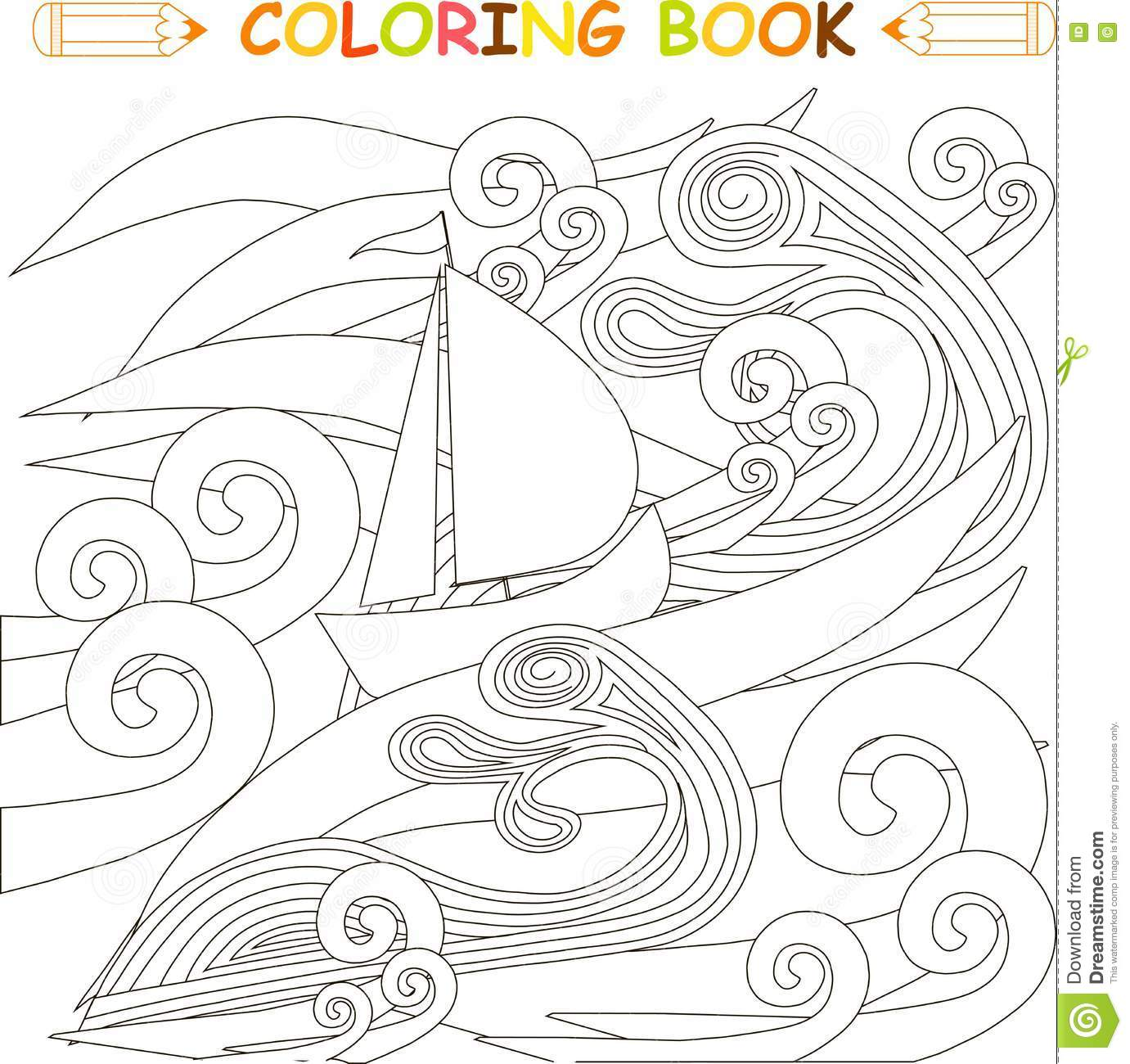 Ship In Storm In The Ocean Coloring Page Vector Stock