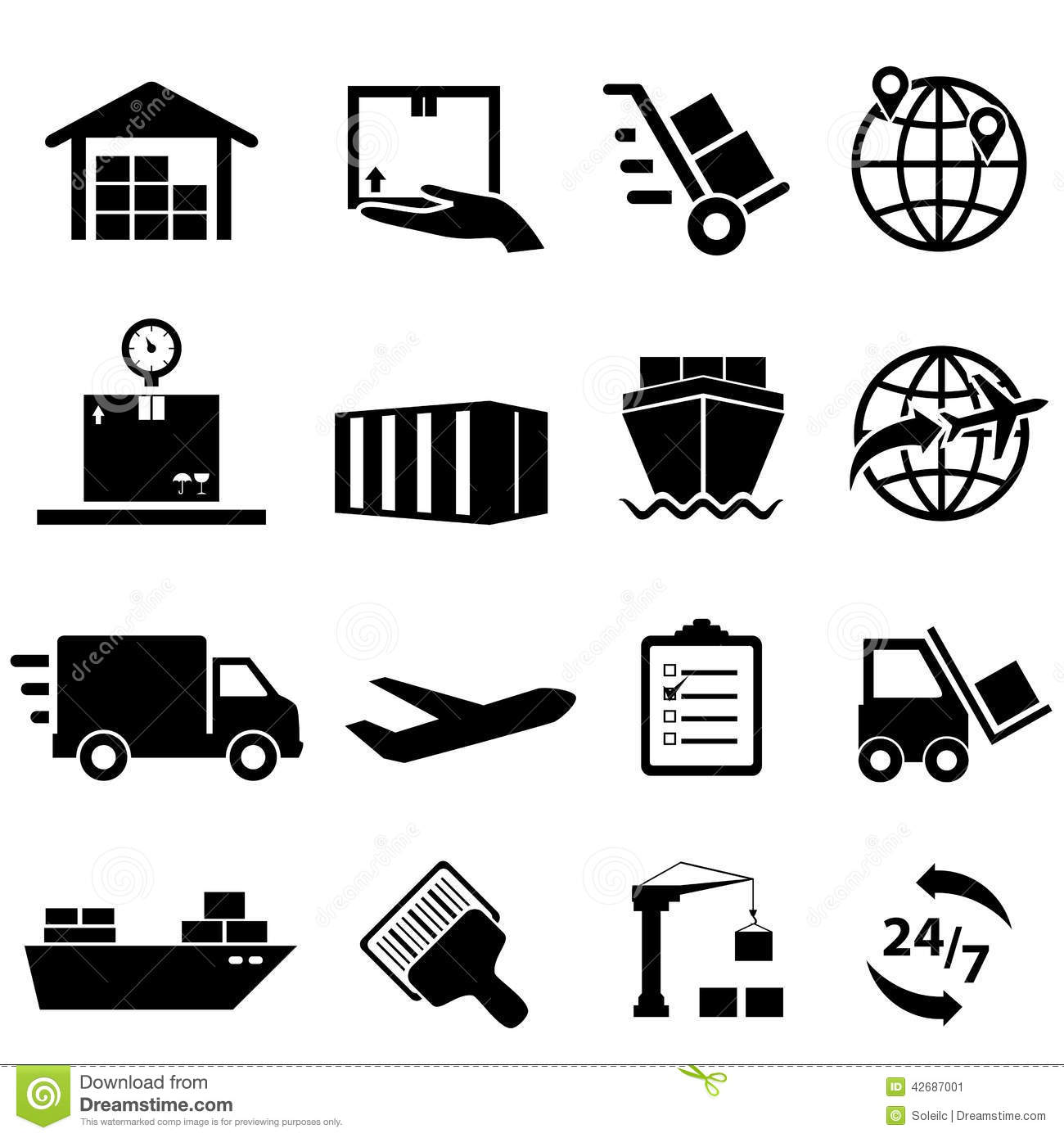 Shipping And Logistics Icons Stock Vector