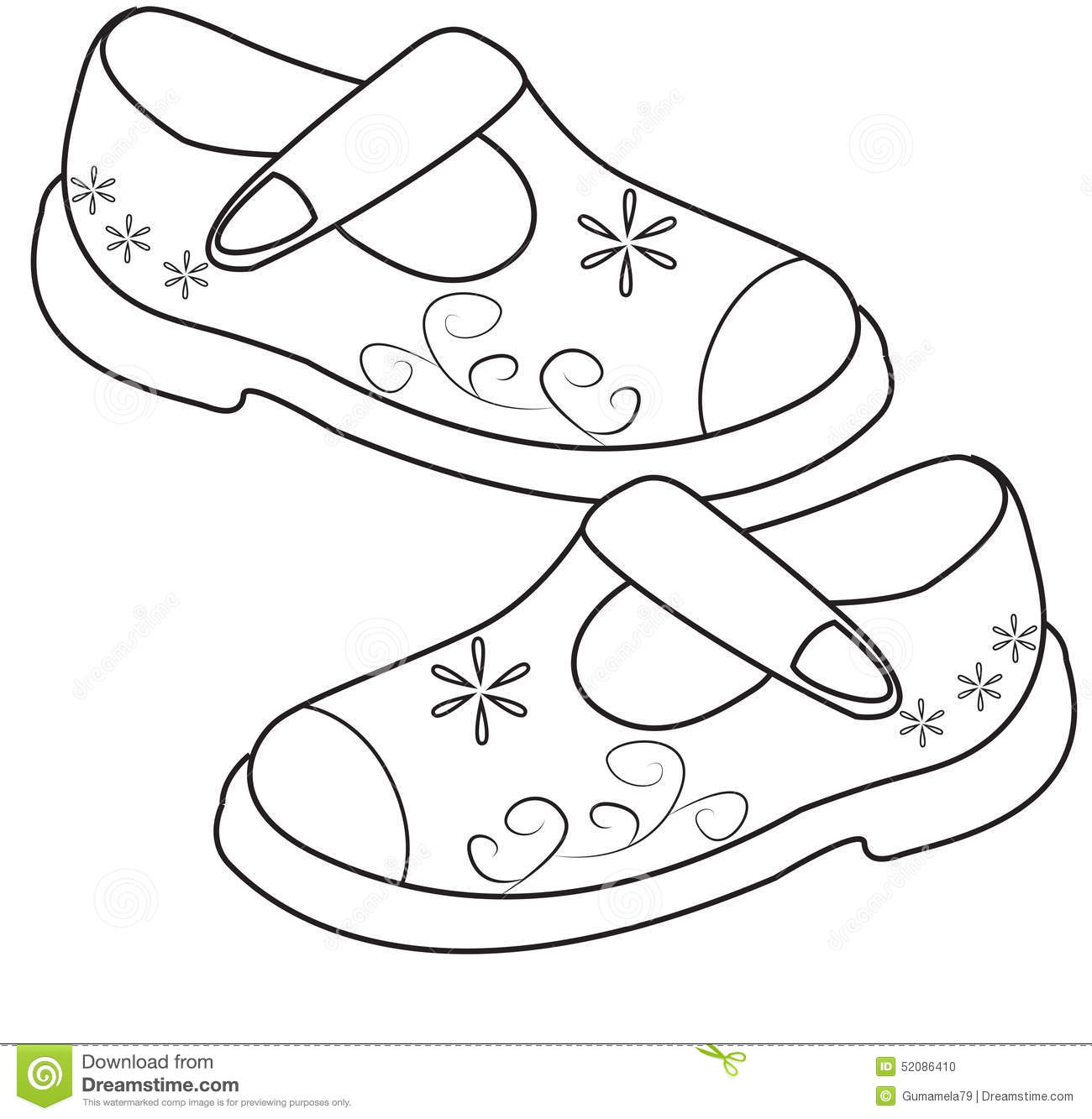 Stock Photo Shoes For Girls Coloring Page Image