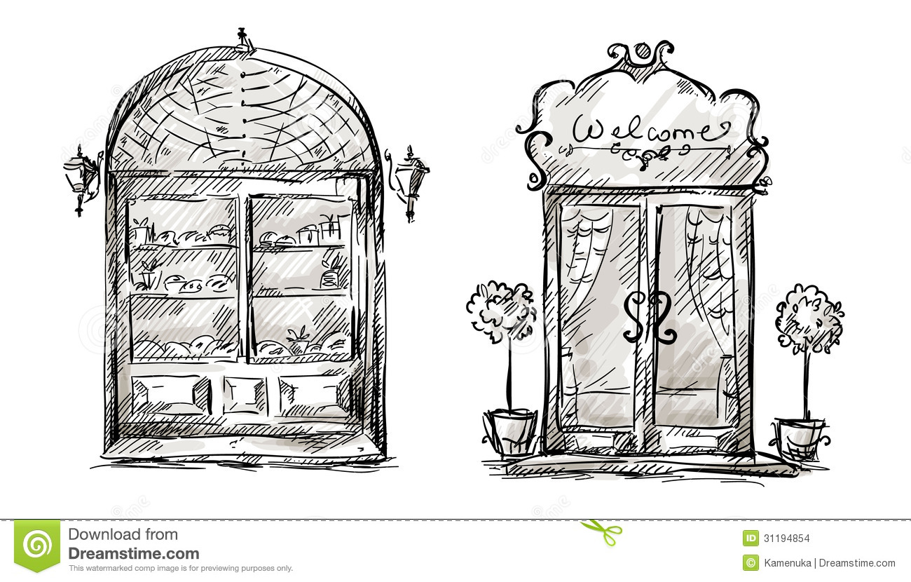 Shop Window And Entrance Door Drawing Retro Style Stock
