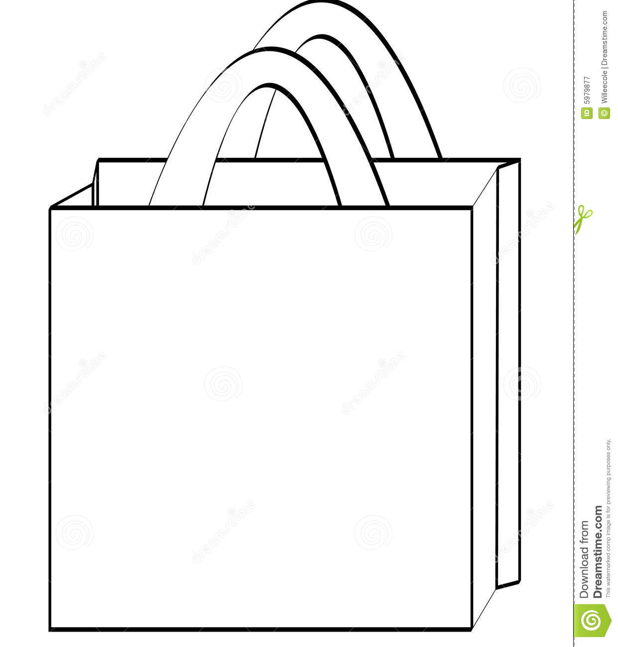 Shopping Bag Outline Royalty Free Stock Photography