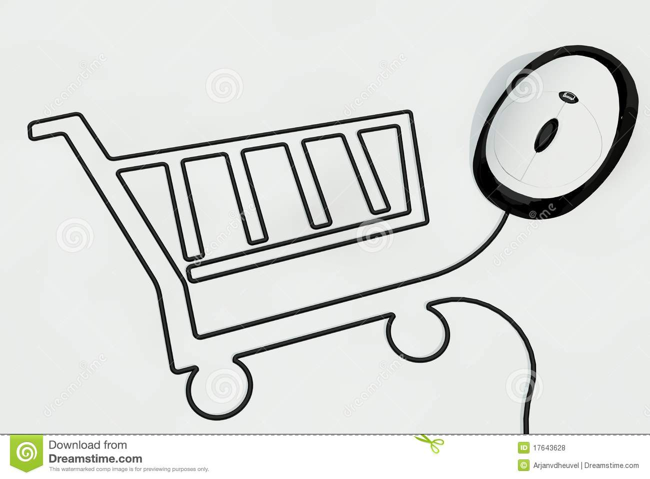 Shopping Cart Drawn With Mouse Wire Royalty Free Stock