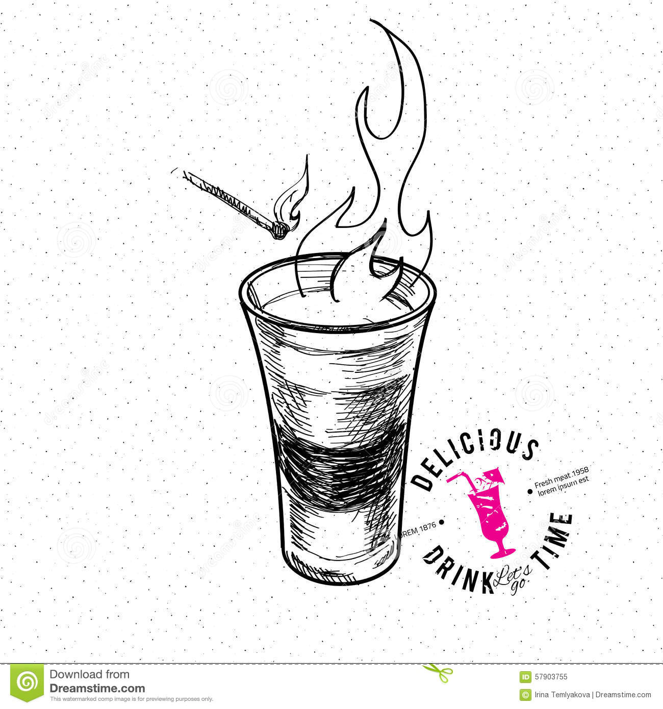 Shot Glass Stock Vector Illustration Of Flame Doodle