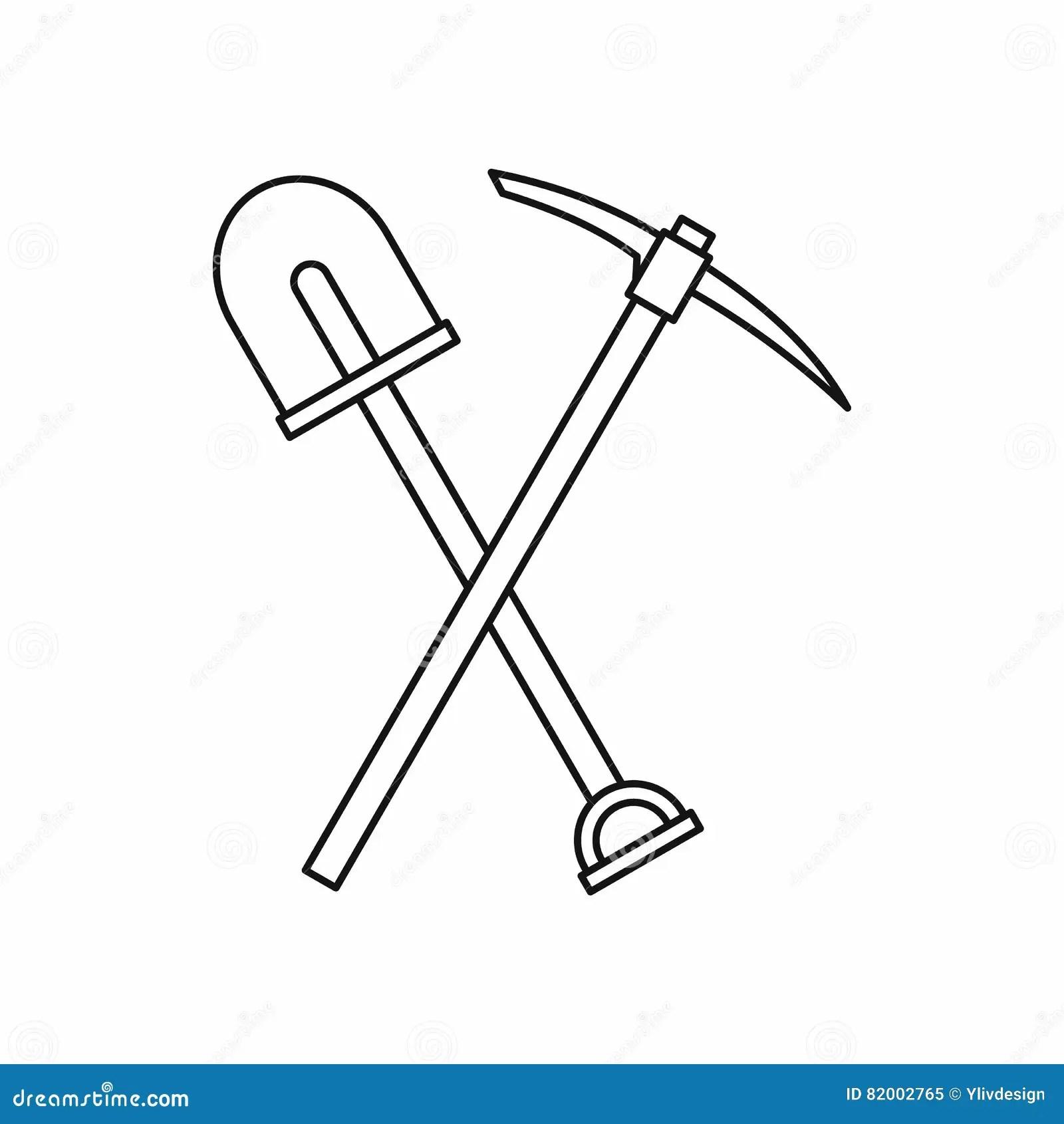 Shovel Icon Outline Vector Illustration