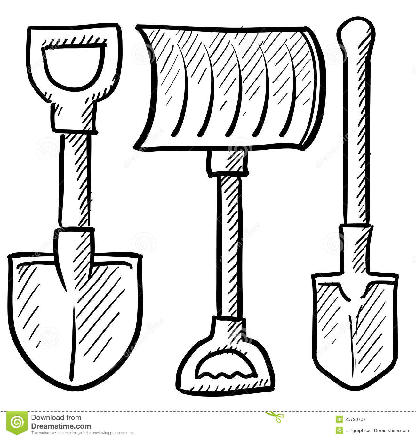 Shovels Assortment Vector Stock Vector Illustration Of