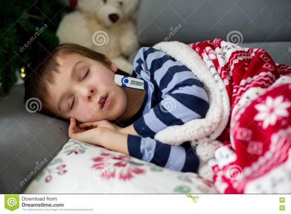 Sick Little Child, Boy, With High Fever Sleeping On The ...