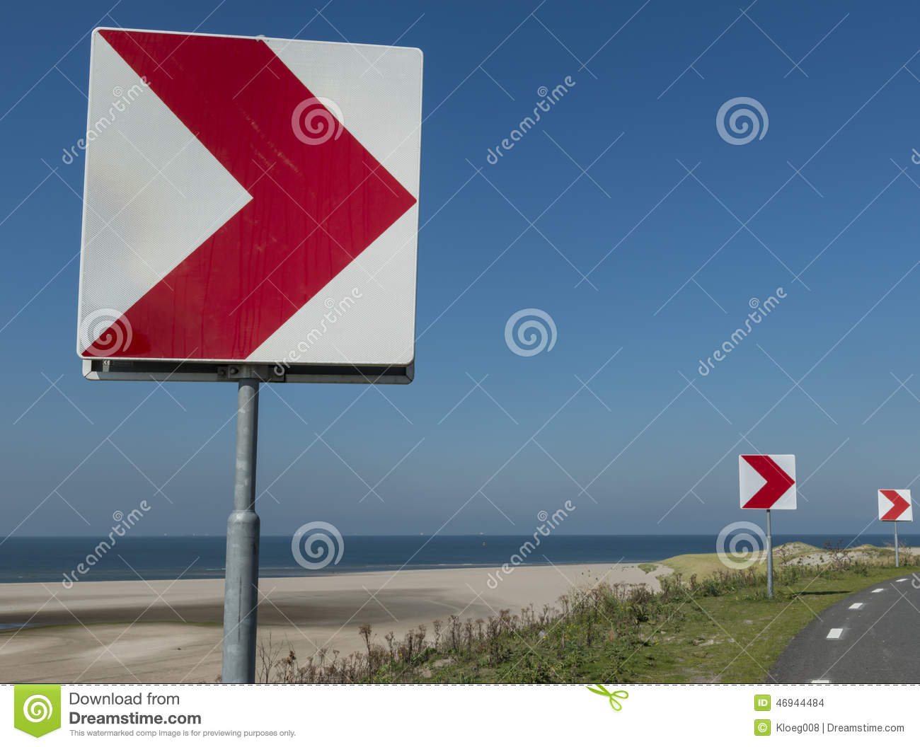 Sign Sharp Turn To Right Stock Photo