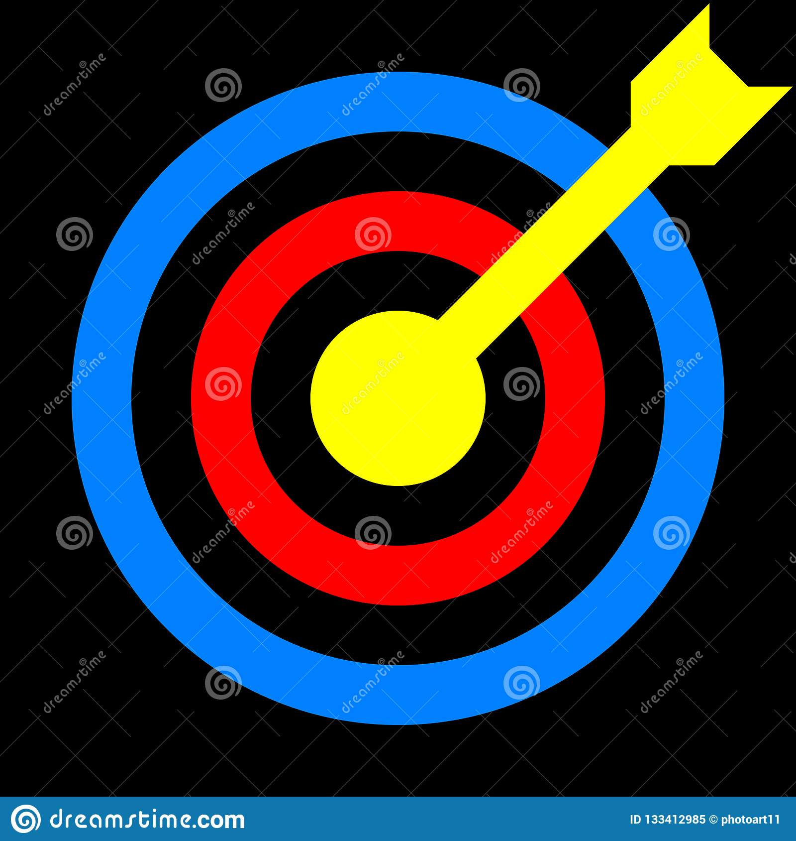 signe de cible le bleu rouge jaune