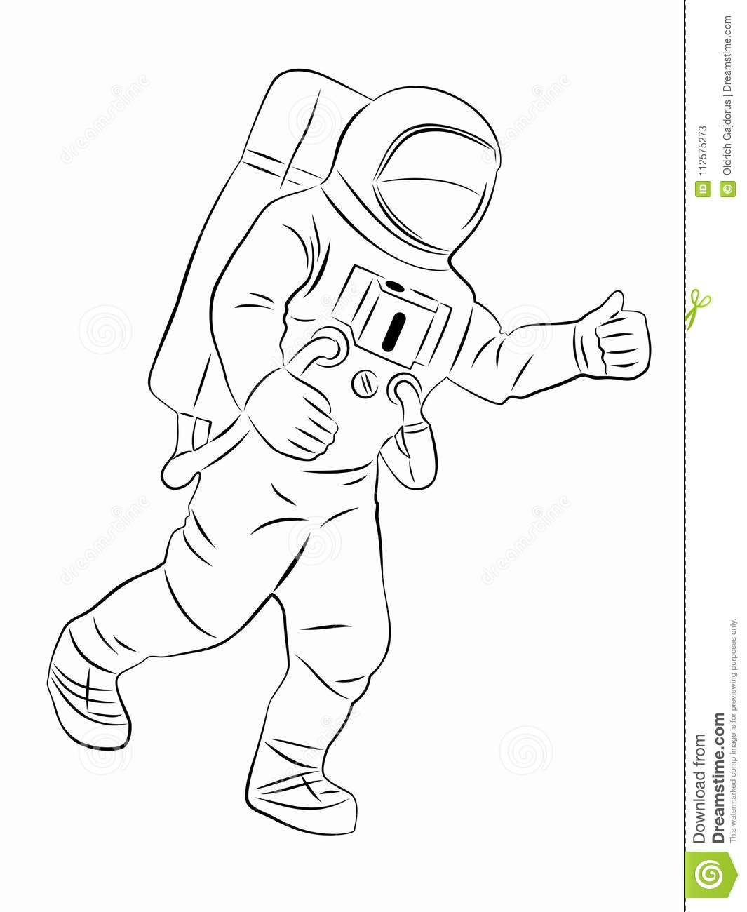Silhouette Of Astronaut Vector Drawing Stock Vector