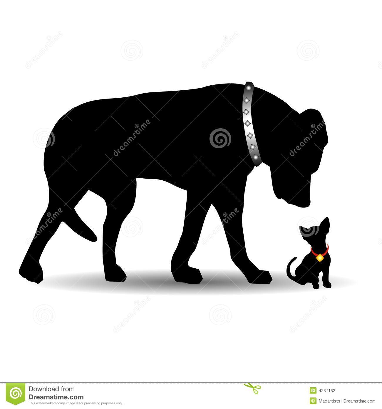 Silhouette Big Dog Little Dog Stock Photography
