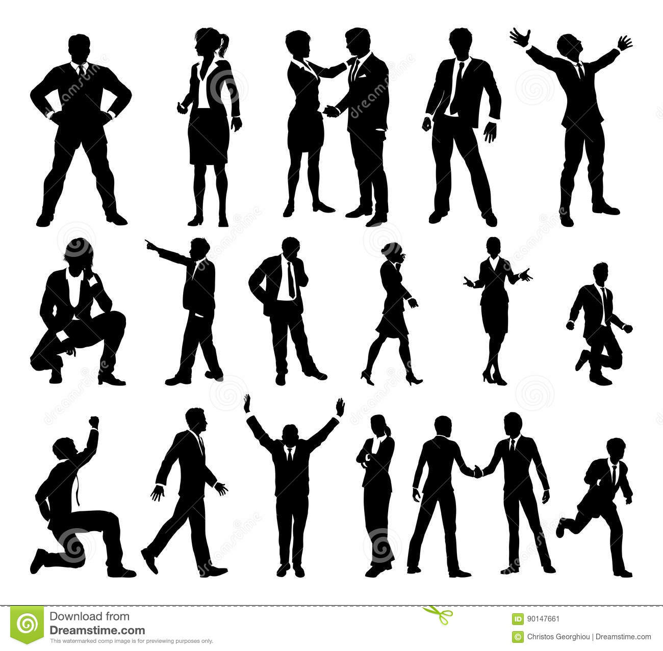 Many High Quality Business People Silhouettes Vector