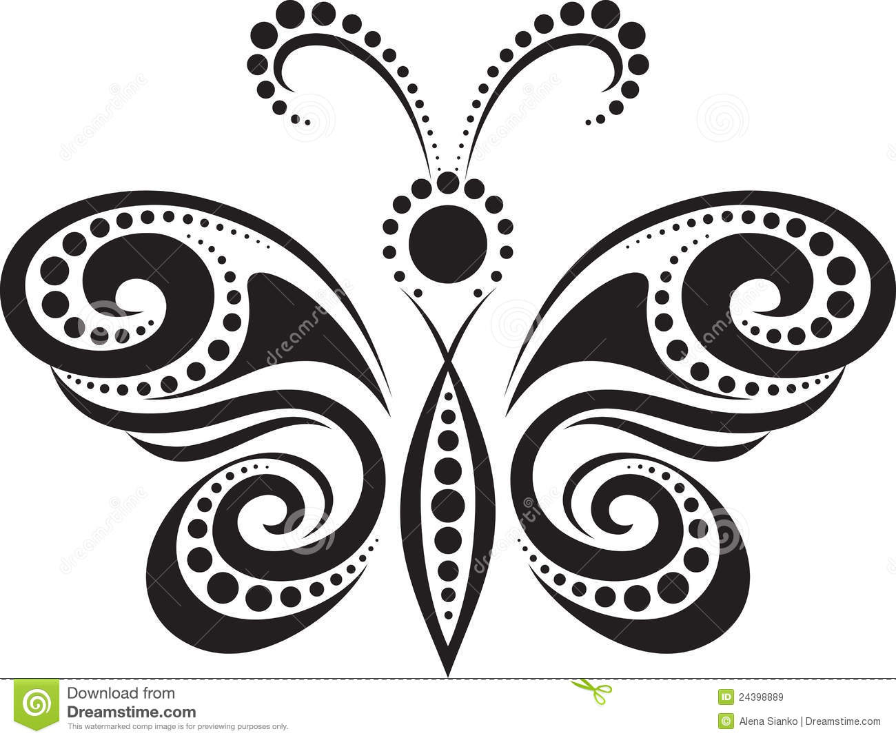 Silhouette Of A Butterfly From The Lines And Point Royalty