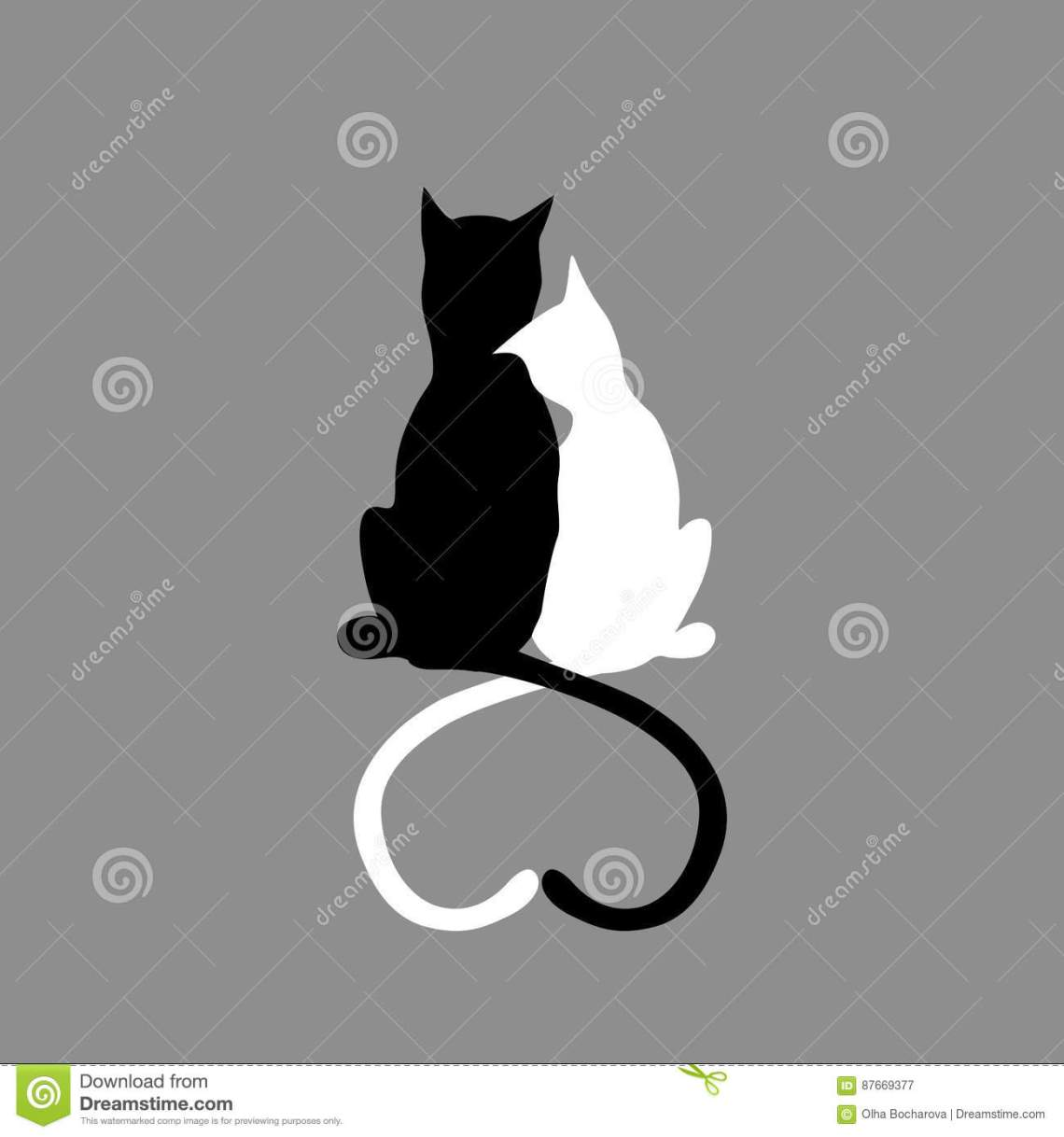 Download Silhouette Of Cat Couple In Love With Shape Heart Tails ...