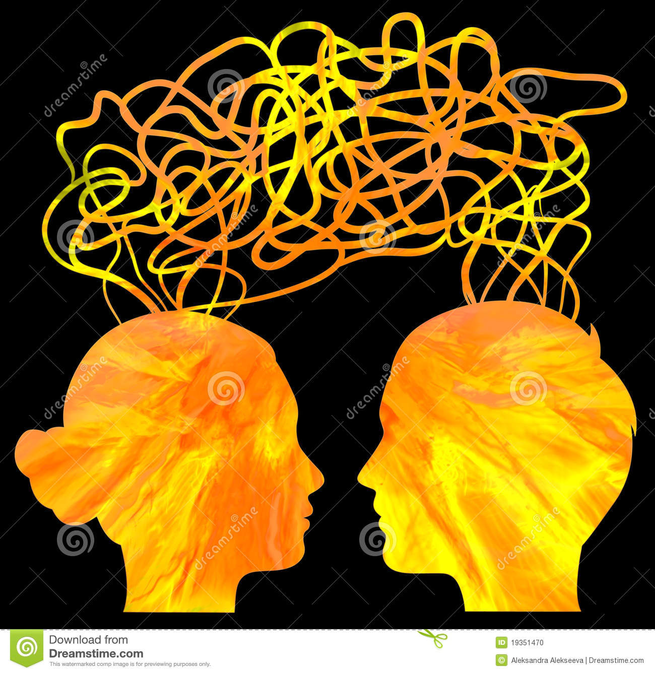 Silhouette Of Couple Heads Thinking Relationship Stock Photo