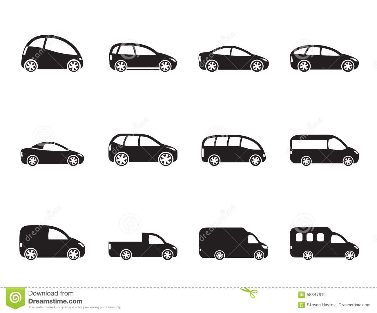 Silhouette Icons Vehicle Types Cartoon Vector