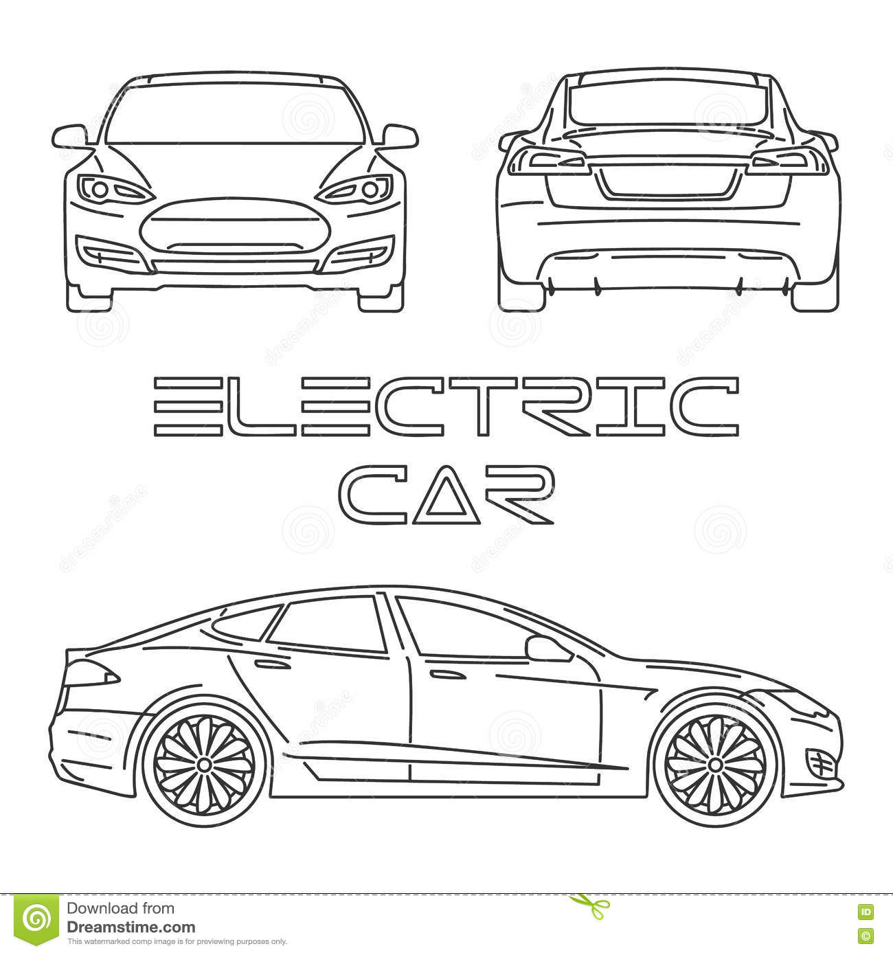 Silhouette Of Electric Car Outline Stock Vector
