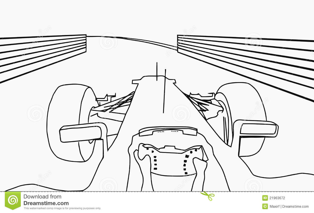 Silhouette F1 Cockpit View Stock Photography